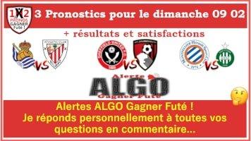 3 Pronostics dimanche 09 02 de FRED tipster Gagner futé Gagné GF Sheffield United Bournemouth-min
