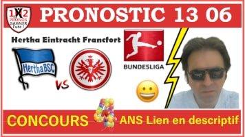 Pronostic Hertha Eintracht Francfort Bundesliga GRATUIT 13-06